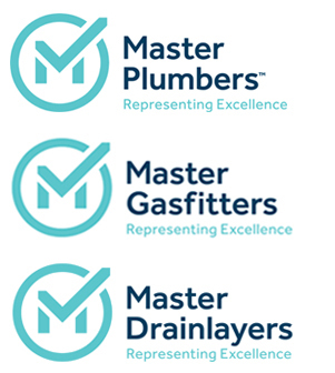 Master plumber, gas fitter and drain layer logos